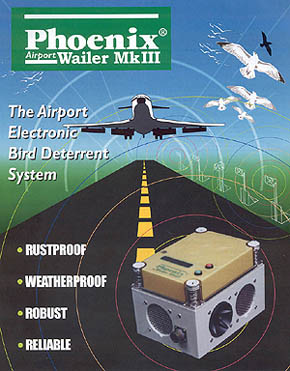 Airport Bird Wailer moves pest birds from runways and other open problem areas at airports without interfering with airport traffic